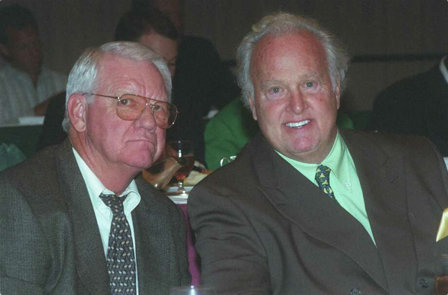 "09/28/2001 - John David Crow and Paul Hornung at TOUCHDOWN CLUB LUNCHEON.   HOUCHRON CAPTION (09/29/2001):  Heisman Trophy winners John David Crow of Texas A&M, left, and Paul Hornung of Notre Dame were among the faces in the crowd at Friday's Texas A&M-Notre Dame preview luncheon.   HOUCHRON CAPTION  (09/11/2002):  ""You can call it an air of confidence or good feeling, but something is happening at Notre Dame. It's because of (coach Tyrone) Willingham."" -- Former Heisman Trophy winner Paul Hornung, who is a regular at Irish football games. Photo: Carlos Antonio Rios / HOUSTON CHRONICLE"