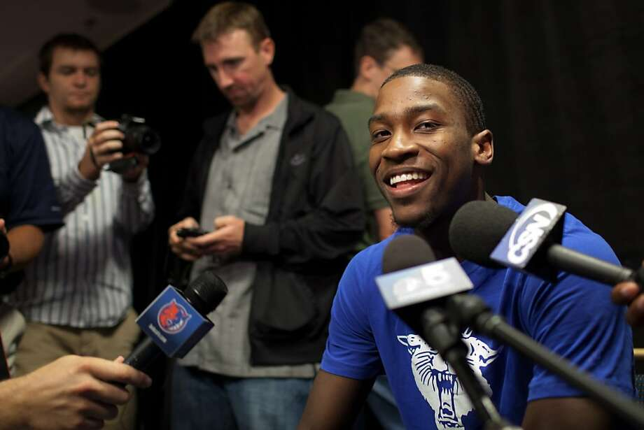 Michael Kidd-Gilchrist of the University of Kentucky holds court with the media on Thursday, June 7, 2012, at the NBA draft combine in Chicago. Photo: Jeff Cagle, Special To The Chronicle