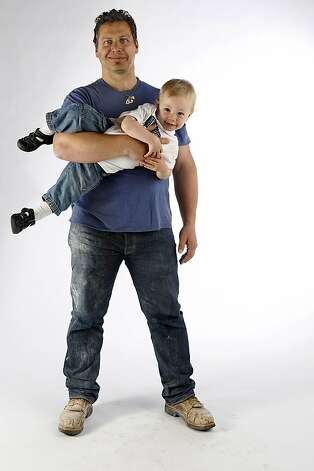 Potter Jered Nelson with his 17 month old son Jack Nelson being photographed in San Francisco, California, on Tuesday, May 29, 2012. Photo: Liz Hafalia, The Chronicle