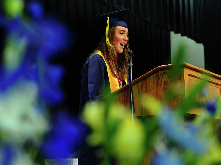 Graduate Meghan Cassidy gives the Valedictory Address during Notre Dame of Fairfield's Class of 2012 Commencement Exercises in Fairfield, Conn. on Friday June 8, 2012. Photo: Christian Abraham / Connecticut Post