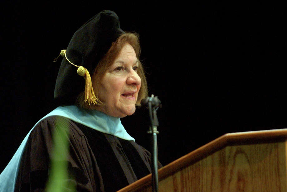 Dr. Margaret Dames, Superintendant of Schools for the Diocese of Bridgeport, makes remarks, during Notre Dame of Fairfield's Class of 2012 Commencement Exercises in Fairfield, Conn. on Friday June 8, 2012. Photo: Christian Abraham / Connecticut Post