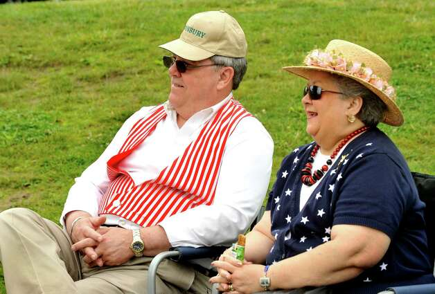 Fans Danny and Linda Anderson, of Danbury, watch the Newtown Sandy Hooks play Westfield Wheelmen in a vintage baseball game, played in costume and rules from 1886, in Danbury Saturday, June 9, 2012. Photo: Michael Duffy / The News-Times