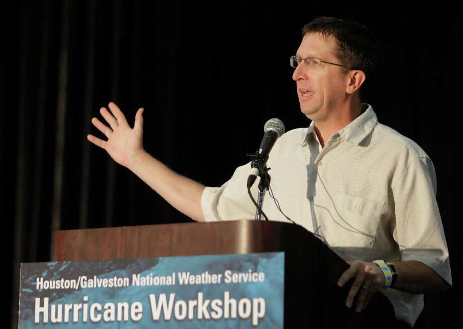 Rick Knabb, the new director of the National Hurricane Center, speaks at the Houston/Galveston National Weather Service 2012 Hurricane Workshop. Photo: Melissa Phillip, Houston Chronicle / © 2012 Houston Chronicle