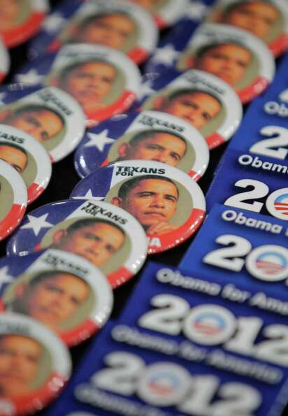 Obama buttons shown at a booth during the Texas Democratic Convention at the George R. Brown Convent
