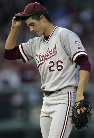 Stanford pitcher Mark Appel reacts after losing the lead in the fourth inning of an NCAA college baseball tournament super regional game against Florida State, Friday, June 8, 2012, in Tallahassee, Fla. (AP Photo/Phil Sears) Photo: Phil Sears, Associated Press