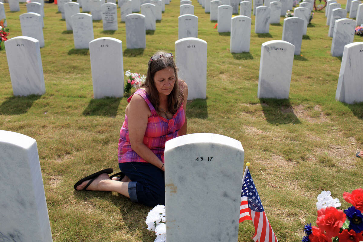 Callie Simpson visits the grave of her daughter, Tamara Simpson, who was 29 when she was killed by a drunk driver on May 10, 2008 in San Antonio, on Thursday, June 7, 2012.