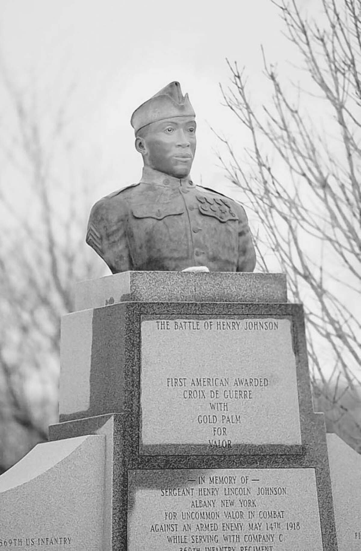 Henry Johnson's memorial statue in Washington Park, Albany. (Times Union archive)