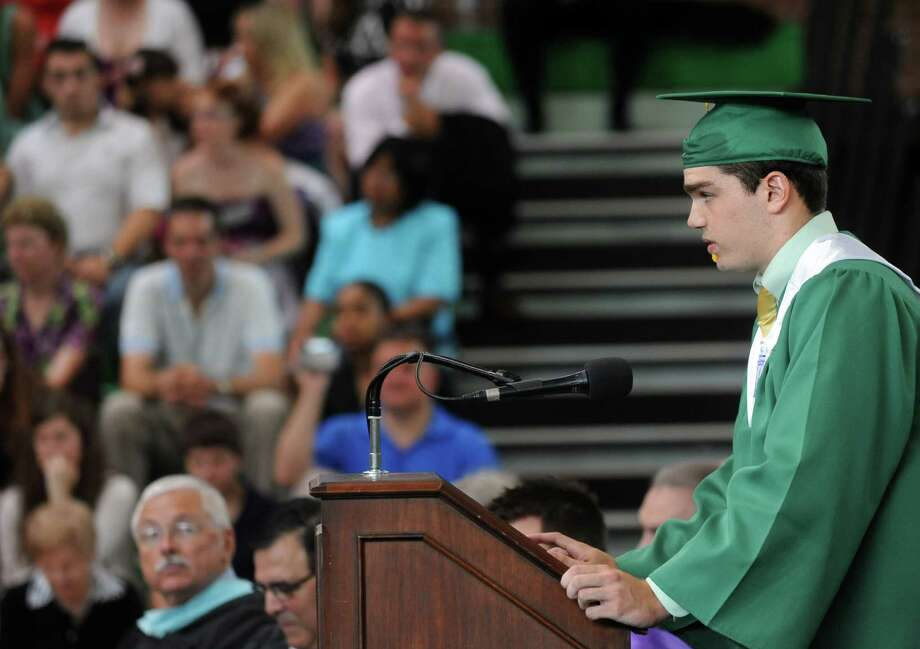 Class salutatorian Kevin Epp speaks during Saturday's graduation ceremony at Trinity Catholic High School in Stamford on June 9, 2012. Photo: Lindsay Niegelberg / Stamford Advocate