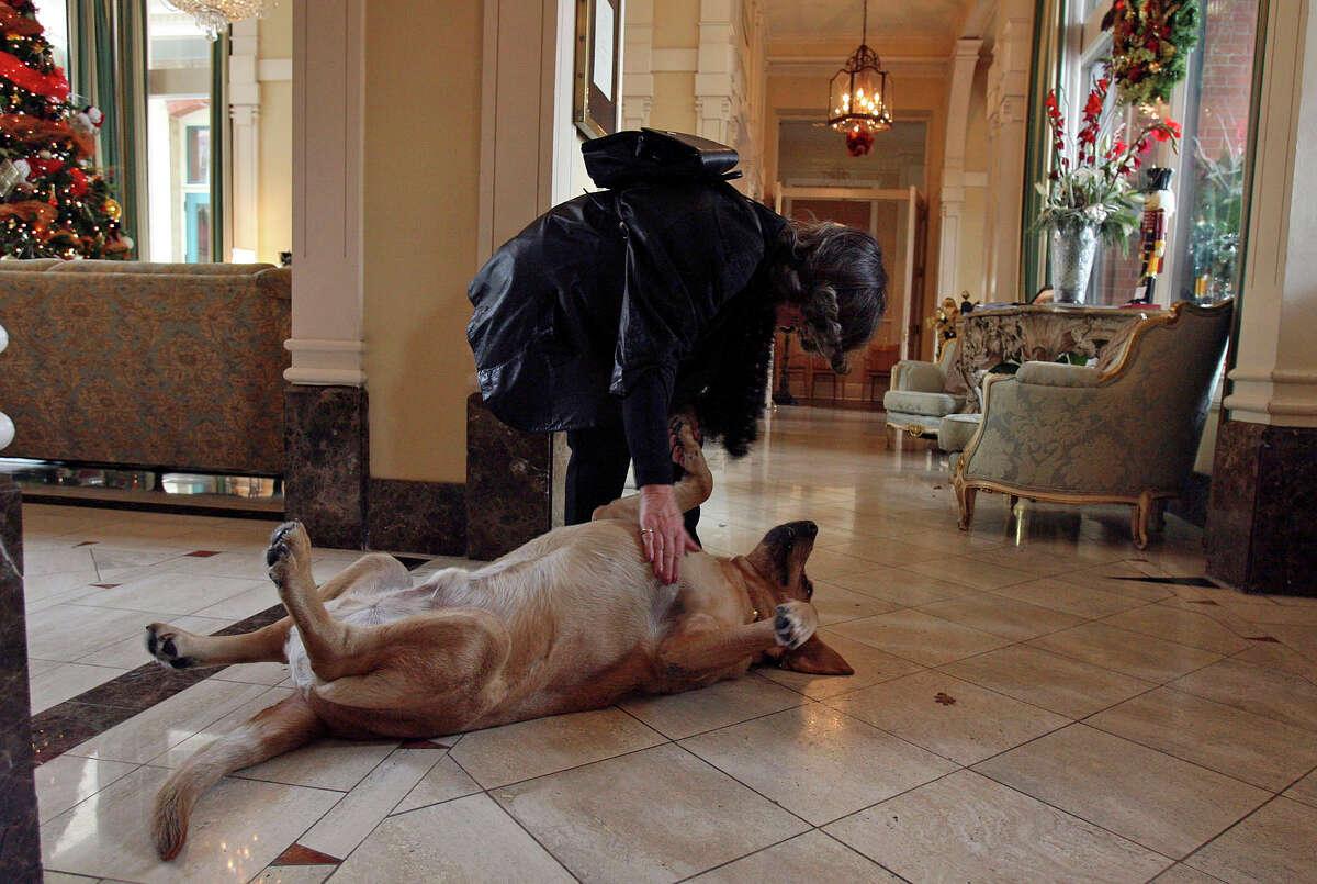 Fairmount Hotel guest Anneliese Kischkel of California says goodbye to Luke Tips on Thursday December 7, 2006.