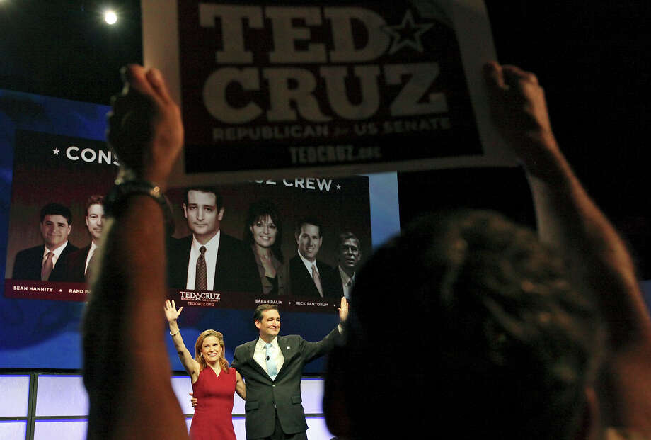 Heidi Cruz and her husband, Ted, wave after his speech Saturday to the 2012 Texas GOP Convention held in Fort Worth. Photo: Edward A. Ornelas / © 2012 San Antonio Express-News