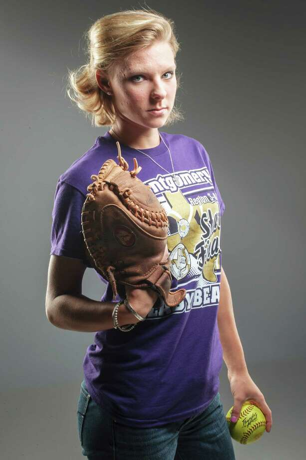 Montgomery senior Cali Lanphear switched from the outfield to catcher in midseason, and her leadership behind the plate helped her team to the Class 4A state tournament. Photo: Michael Paulsen / © 2012 Houston Chronicle