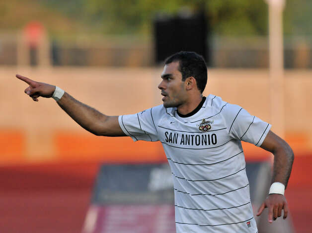 Pablo Campos of the Scorpions credits teammates after scoring a first half goal versus the Atlanta Silverbacks Saturday at Heroes Stadium. Photo: Robin Jerstad, Express-News / Jerstad Photographics LLC