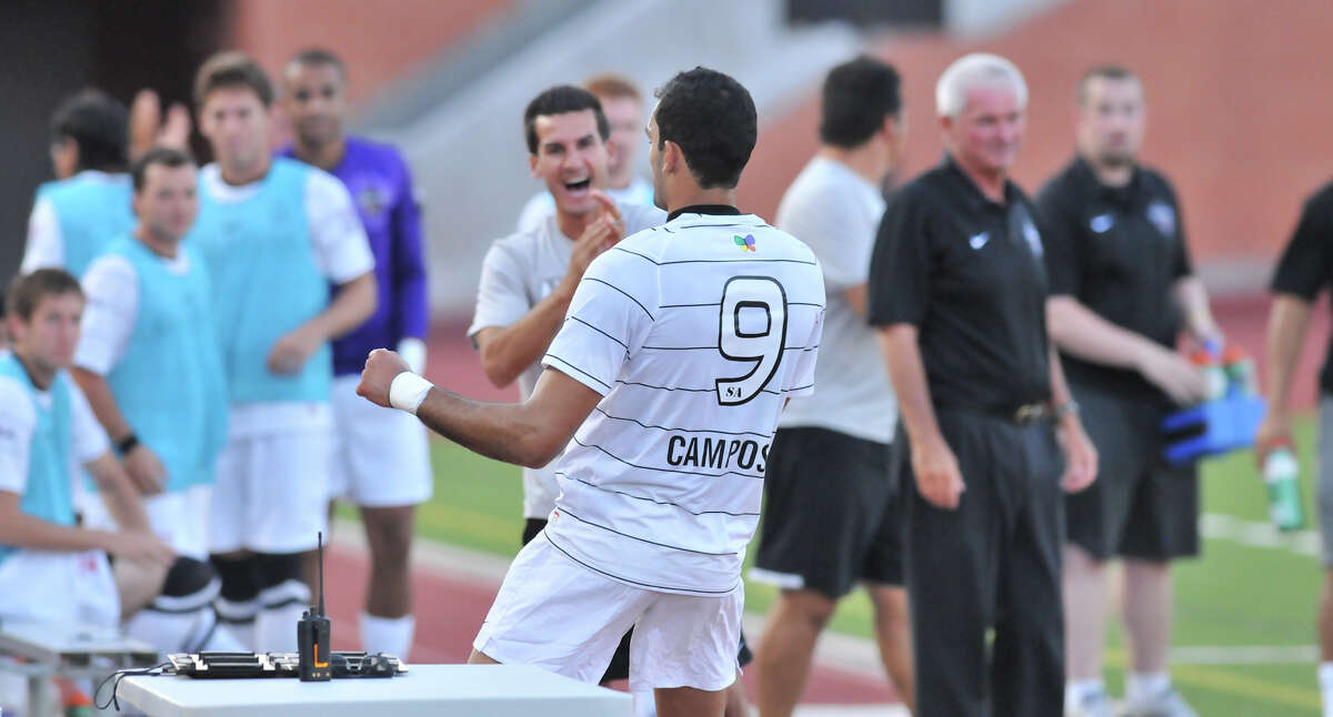 Pablo Campos of the San Antonio Scorpions celebrates a first half goal versus the Atlanta Silverbacks Saturday evening in Heroes Stadium.