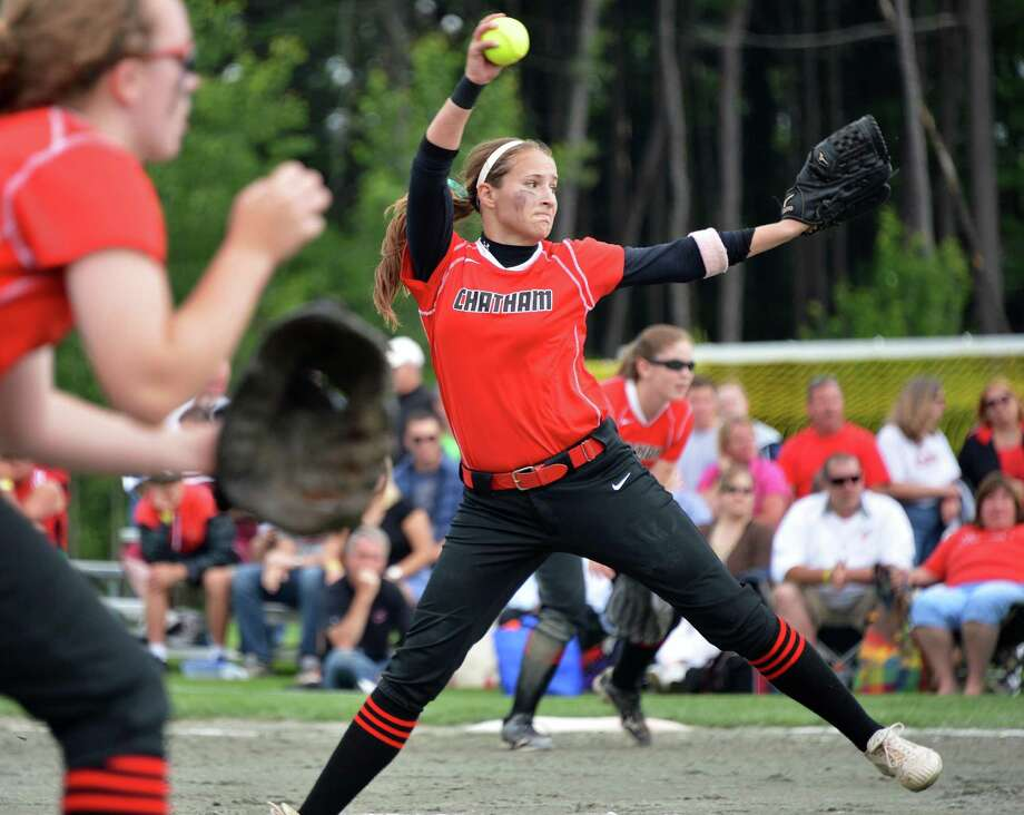 Chatham starting pitcher #28 Kayla Doty throws against Mynderse Academy in the state championship softball game in Queensbury Saturday June 9, 2012.   (John Carl D'Annibale / Times Union) Photo: John Carl D'Annibale / 00018031A