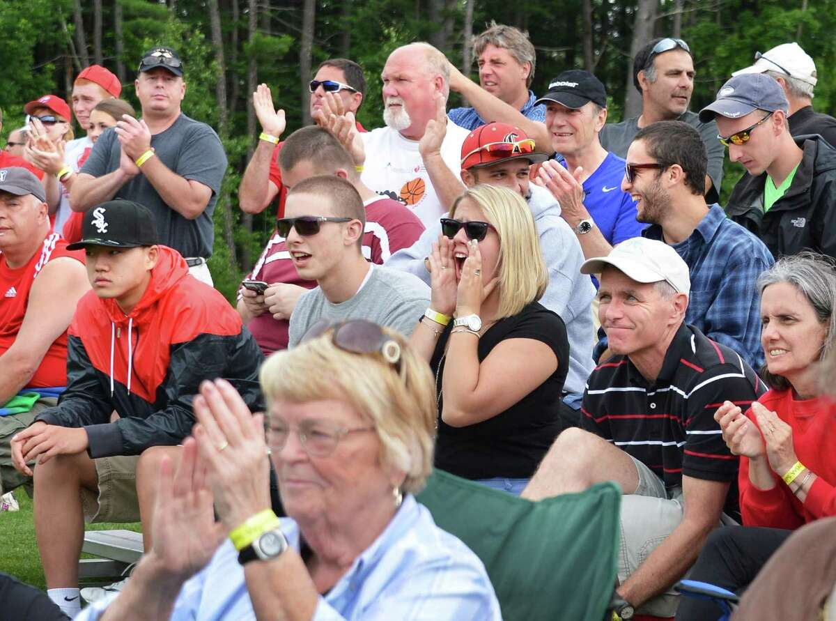 Chatham fans cheer on their team during the state championship softball game against Mynderse Academy in Queensbury Saturday June 9, 2012. (John Carl D'Annibale / Times Union)