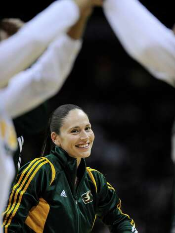 Seattle Storm's Sue Bird is introduced onto the court before a WNBA basketball game against the San Antonio Silver Stars, Saturday, June 9, 2012, in San Antonio. San Antonio won 80-67. Photo: Darren Abate, Express-News