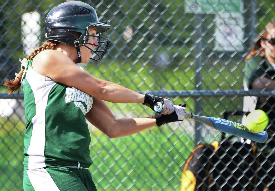 Greenwich's #29 Dani DeGregory homers in the top of the first against Greene Central School in the state class C championship softball game in Queensbury Saturday June 9, 2012.   (John Carl D'Annibale / Times Union) Photo: John Carl D'Annibale / 00018031A