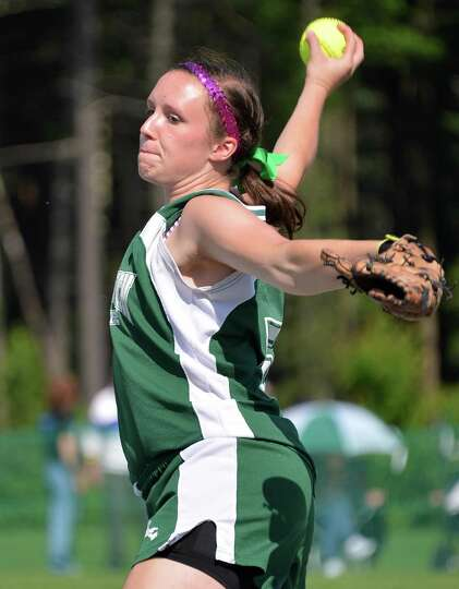 Greenwich pitcher Rachel Albrecht throws against against Greene Central School in the state class C