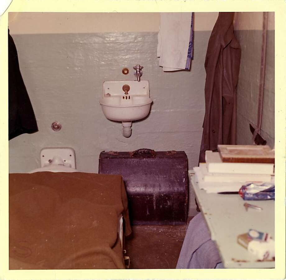 This 1962 photo from the U.S. Penitentiary Alcatraz shows Frank Morris' cell and shows the entire back of the cell with the accordion case that was blocking the avenue of escape. The U.S. Marshals Service to this day continues to have an open case on the escape. Photo: Handout Photo, U. S. Penitentiary Alcatraz