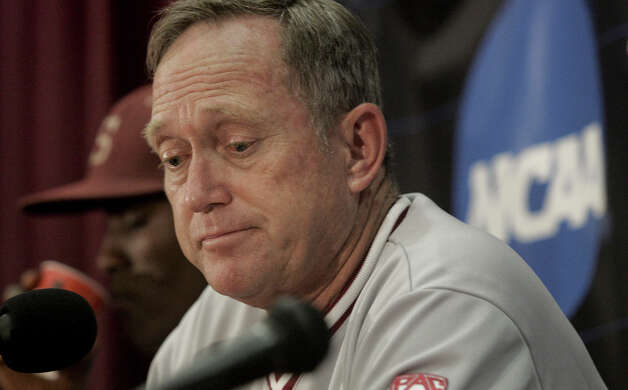 Stanford head coach Mark Marquess discusses his team's performance at a news conference after an NCAA college baseball tournament super regional game against Florida State, Friday, June 8, 2012, in Tallahassee, Fla. Florida State won 17-1. (AP Photo/Phil Sears) Photo: Phil Sears, Associated Press