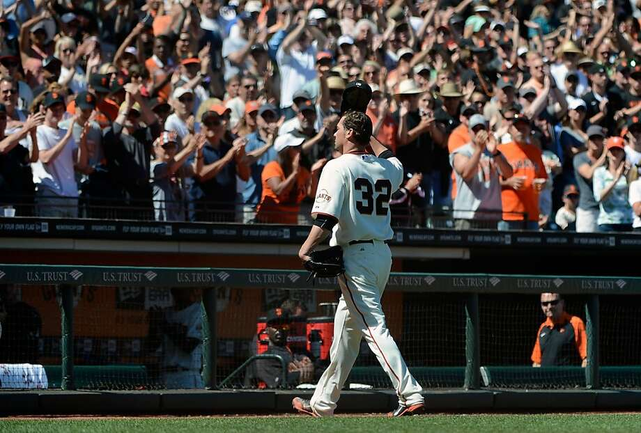 SAN FRANCISCO, CA - JUNE 09:  Ryan Vogelsong #32 of the San Francisco Giants tips his cap to the fans after being taken out of the game in the eighth inning against the Texas Rangers at AT&T Park on June 9, 2012 in San Francisco, California.  (Photo by Thearon W. Henderson/Getty Images) Photo: Thearon W. Henderson, Getty Images