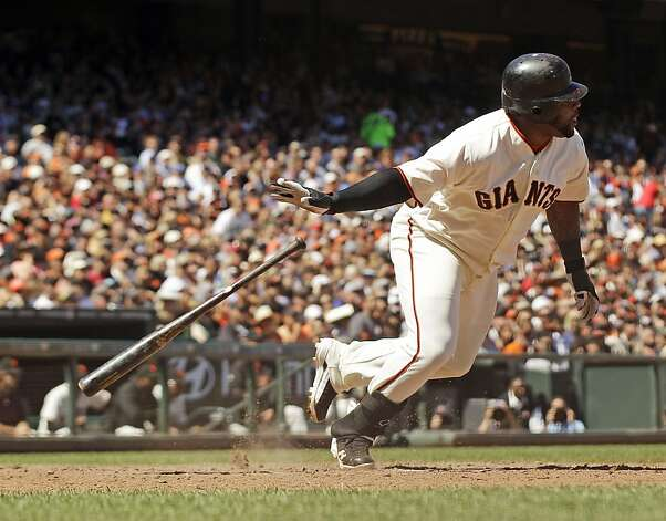 San Francisco Giants' Pablo Sandoval drives in a run with a single against the Texas Rangers during the seventh inning of a baseball game in San Francisco, Saturday, June 9, 2012. The Giants won 5-2. (AP Photo/Marcio Jose Sanchez) Photo: Marcio Jose Sanchez, Associated Press