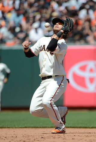 SAN FRANCISCO, CA - JUNE 09:  Brandon Crawford #35 of the San Francisco Giants drops a pop-up on the infield off the bat of Adrian Beltre #29 of the Texas Rangers in the six inning at AT&T Park on June 9, 2012 in San Francisco, California.  (Photo by Thearon W. Henderson/Getty Images) Photo: Thearon W. Henderson, Getty Images