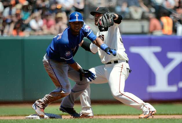 SAN FRANCISCO, CA - JUNE 09:  Elvis Andrus #1 of the Texas Rangers gets caught stealing by Brandon Crawford #35 of the San Francisco Giants in the third inning at AT&T Park on June 9, 2012 in San Francisco, California.  (Photo by Thearon W. Henderson/Getty Images) Photo: Thearon W. Henderson, Getty Images