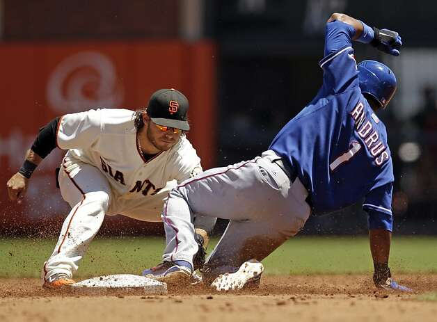San Francisco Giants shortstop Brandon Crawford, left, tags out Texas Rangers' Elvis Andrus at second base on a steal attempt during the third inning of a baseball game in San Francisco, Saturday, June 9, 2012. (AP Photo/Marcio Jose Sanchez) Photo: Marcio Jose Sanchez, Associated Press
