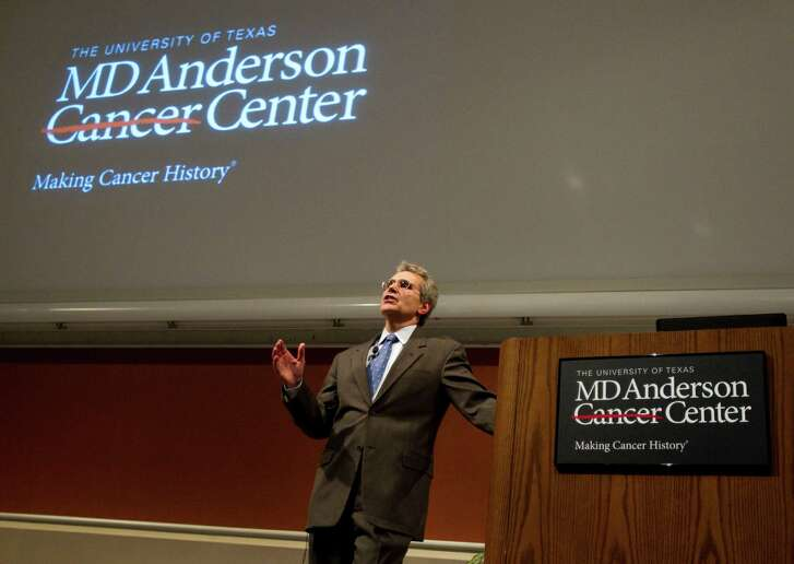 Dr. Ronald DePinho, incoming president of M.D. Anderson Cancer Center, speaks at a town hall style meeting at the hospital Wednesday, June 8, 2011, in Houston.