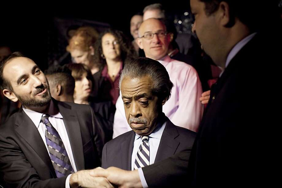 The Rev. Al Sharpton, center, with Jeffrey Campaign, left, a gay rights organizer, and the NAACP President Benjamin Todd Jealous, at a news conference by a gay rights organization to announce a march to protest the stop-and-frisk practice by New York police, in New York, June 5, 2012. Since the relationship between gay rights organizations and the country's major civil rights organizations reached something of a crisis with the passage of Proposition 8, California's ballot initiative against same-sex marriage, in 2008, leaders in both movements have made a concerted effort to bring their groups closer together. (Christopher T. Gregory/The New York Times) Photo: Christopher T. Gregory, New York Times