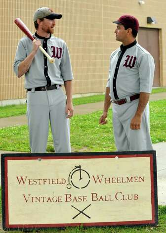 The Newtown Sandy Hooks play the Westfield Wheelmen in a vintage baseball game, in costume and rules from 1886, in Danbury Saturday, June 9, 2012. Photo: Michael Duffy