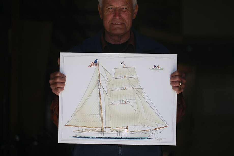 Alan Olson, executive director of the nonprofit - Educational Tall Ships, points the plans for his newest tall ship project called a Brigantine on Wednesday June 6, 2012 in Sausalito, Calif. Photo: Mike Kepka, The Chronicle