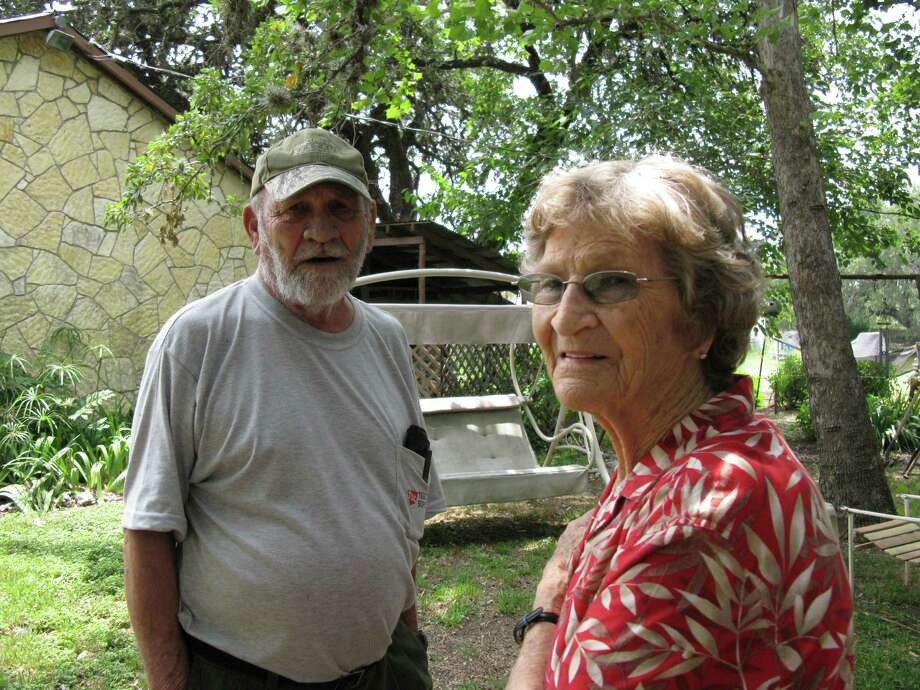 John E. Vogt (left) and Nelda Vogt (right) sued in 2006 to stop Trada Partners from constructing the Stone Creek Village Apartments on their (20 foot wide and 750 foot long) access easement that leads from Main Street to a 1-acre lot behind the complex. Work proceeded, the Vogts won their suit and the court has ordered the removal of the trespassing parts of several completed fourplexes. Zeke MacCormack / zeke@express-news.net Photo: Zeke MacCormack, San Antonio Express-News / San Antonio Express-News