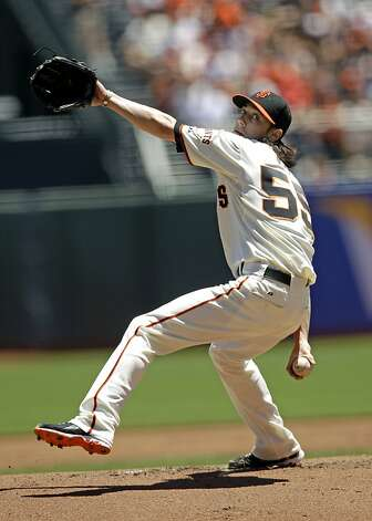 San Francisco Giants starting pitcher Tim Lincecum throws to the Texas Rangers during the first inning of a baseball game in San Francisco, Sunday, June 10, 2012. (AP Photo/Marcio Jose Sanchez) Photo: Marcio Jose Sanchez, Associated Press