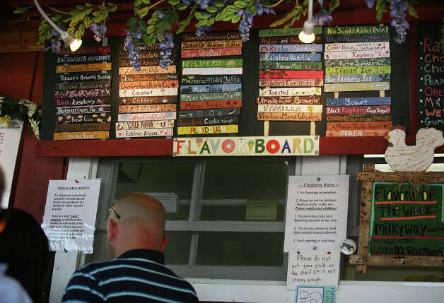 The colorful flavor board at Well's Hollow Farm Creamery in the Huntington section of Shelton on Sunday, June 10, 2012. Photo: Brian A. Pounds / Connecticut Post