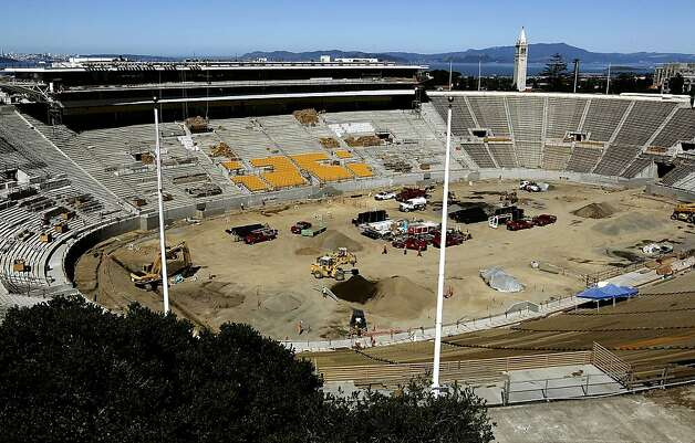 UC Berkeley's Cal Memorial Stadium, as construction crews are busy putting the finishing touches on the renovation project,  on Saturday June 9, 2012, in Berkeley, Ca. Photo: Michael Macor, The Chronicle