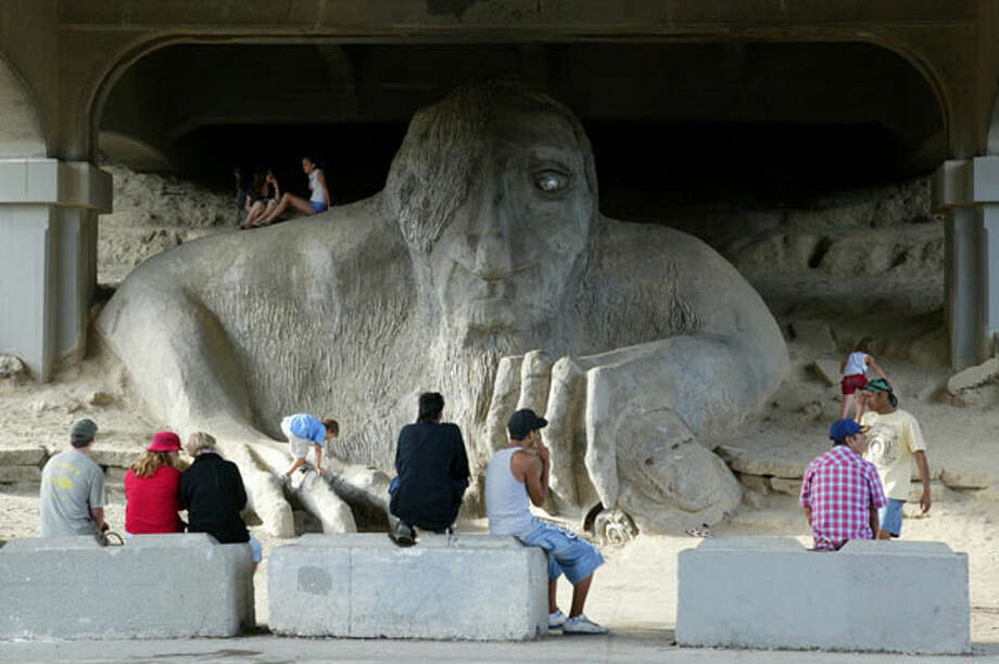 And no city is complete with weird public art. Seattle has lots, including a Lenin statue in its Fremont neighborhood. Fremont also has this Troll. Thankfully it's under a bridge. Someone tell Jabba the Hut we've found his brother.