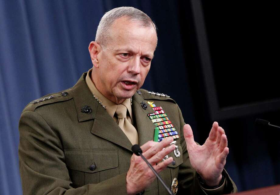 Marine Gen. John R. Allen, commander of the International Security Assistance Force gestures during a news conference at the Pentagon, Wednesday, May 23, 2012. Photo: AP