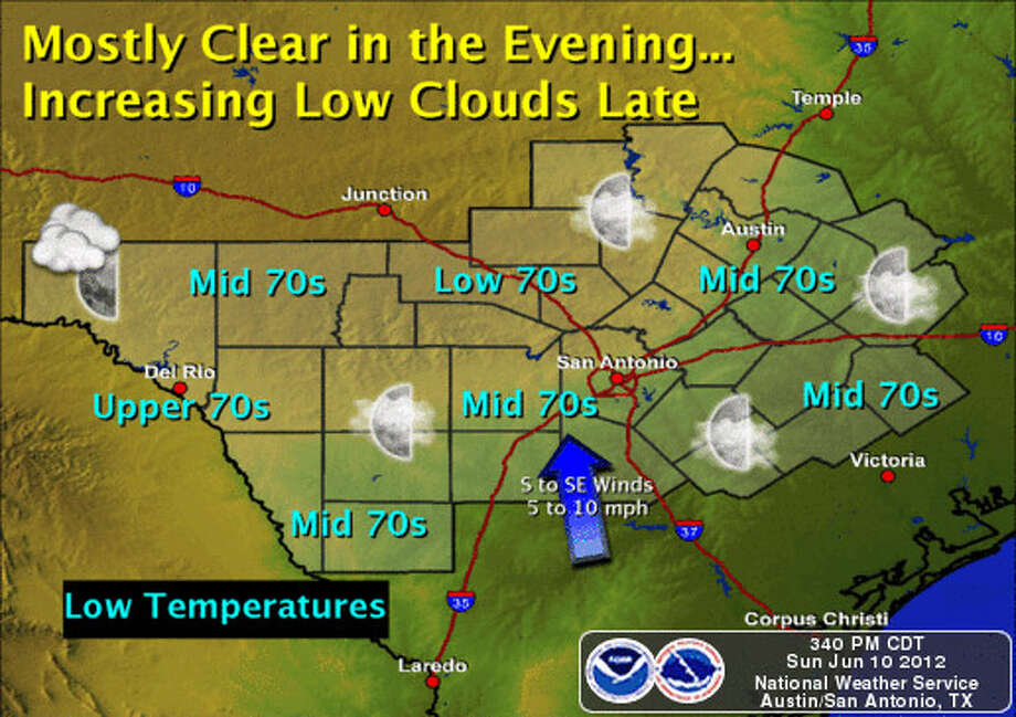 Weather for evening / overnight, June 10-11, 2012. Photo: Courtesy Graphic / NOAA