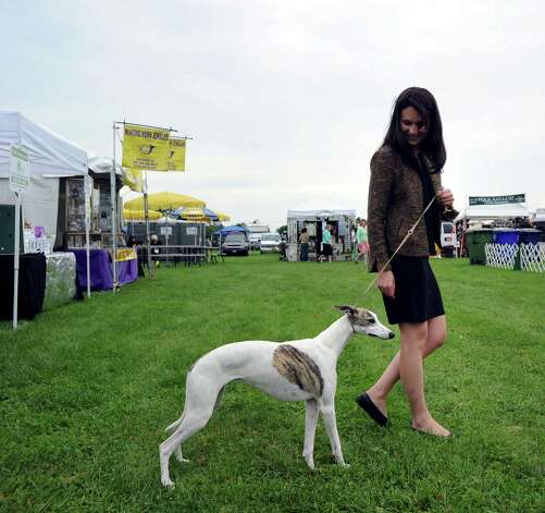 Nicole Veno of Weston and her Whippet named Vivian during the Greenwich Kennel Club 80th Dog Show at Taylor Farm Park in Norwalk, Saturday, June 9, 2012. Photo: Bob Luckey / Greenwich Time