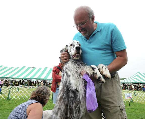 Jack Lannan of Litchfield, Conn., and his English Setter named Quinn during the Greenwich Kennel Club 80th Dog Show at Taylor Farm Park in Norwalk, Saturday, June 9, 2012. Photo: Bob Luckey / Greenwich Time
