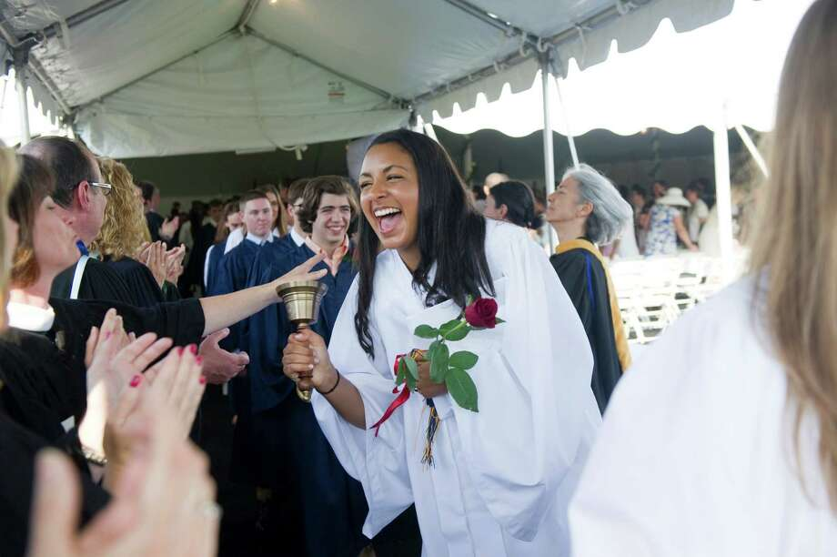Aja Elyse Piro-Ibrahim celebrates during the King Class of 2012 commencement exercises on in Stamford, Conn., June 10, 2012. Photo: Keelin Daly / Stamford Advocate