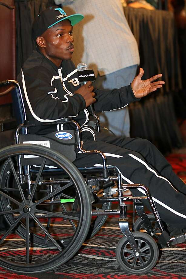 LAS VEGAS, NV - JUNE 09:  Timothy Bradley addresses the media during the post-fight press conference in a wheelchair after defeating Manny Pacquiao by split decision at MGM Grand Garden Arena on June 9, 2012 in Las Vegas, Nevada.  (Photo by Jeff Bottari/Getty Images) Photo: Jeff Bottari, Getty Images