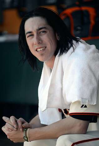 Tim Lincecum of the San Francisco Giants looks on from the dugout in the second inning against the Texas Rangers at AT&T Park on June 10, 2012 in San Francisco, California. Photo: Thearon W. Henderson, Getty Images