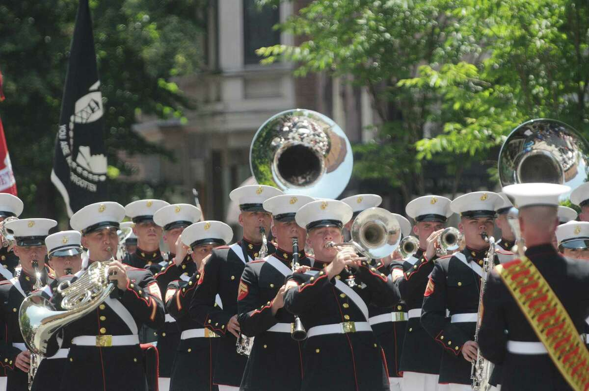 United States Marine Corps Band out of Parris Island performs as they march in the Troy Flag Day Parade on Sunday, June 10, 2012 in Troy, NY. (Paul Buckowski / Times Union)