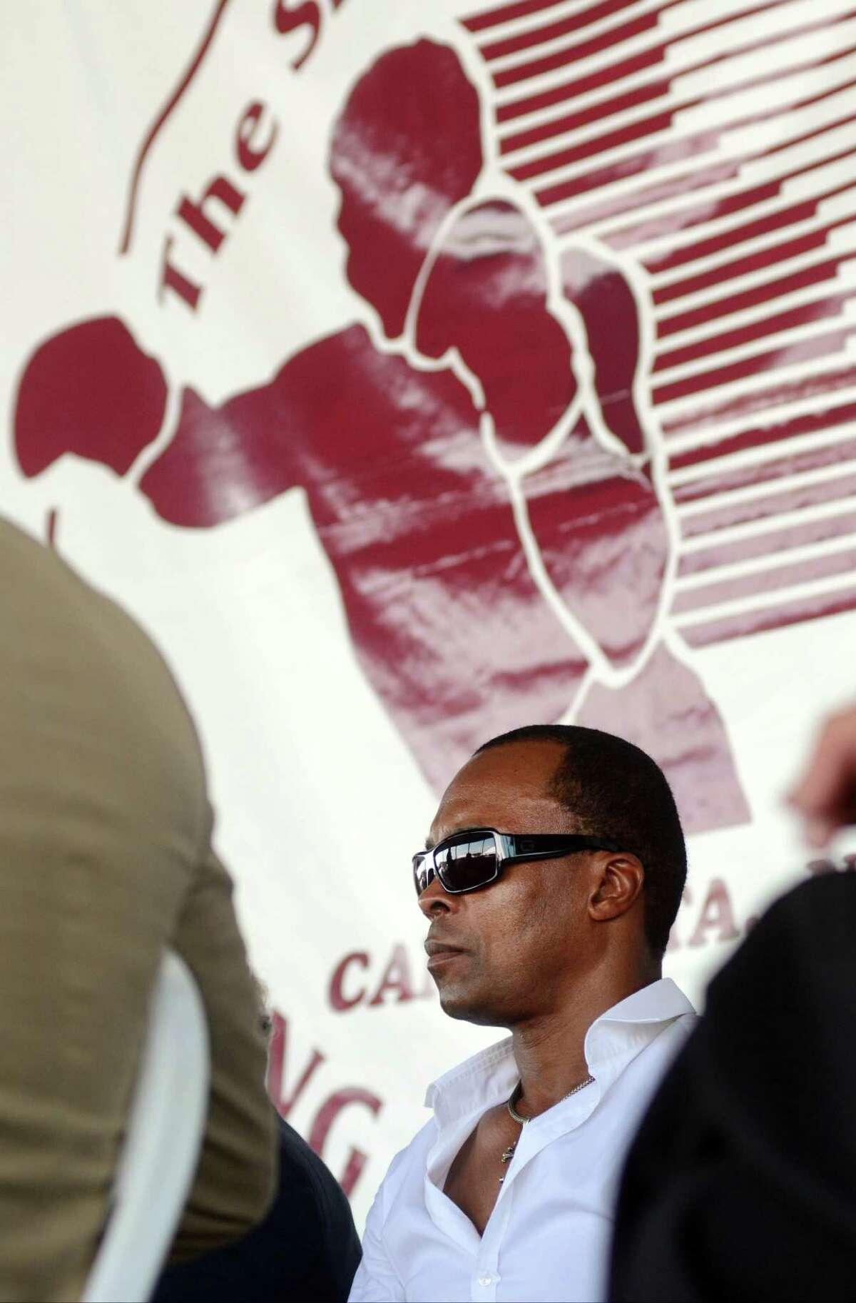 Sugar Ray Leonard attends the International Boxing Hall of Fame induction ceremony in Canastota, N.Y., Sunday, June 10, 2012. Leonard was inducted in 1997.