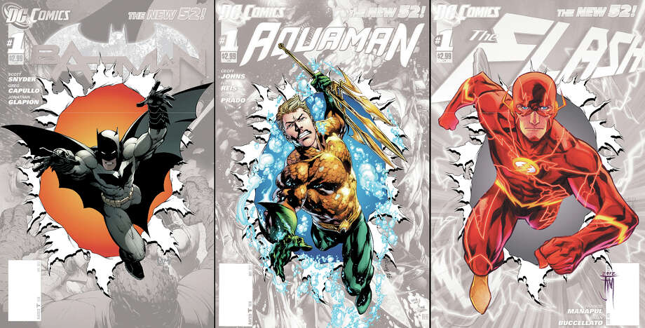 "This combo made from images provided by DC Entertainment show covers of the publisher's zero issues of, from left, ""Batman,"" ""Aquaman,"" and ""The Flash."" In September, DC Entertainment will publish a zero issue for its 52 titles, a move that co-publishers Jim Lee and Dan DiDio said this week will help explain the origins and effects of its rebooted characters a year after it erased decades of history and continuity to start everything from scratch. (AP Photo/DC Entertainment) Photo: HOEP / DC Entertainment"