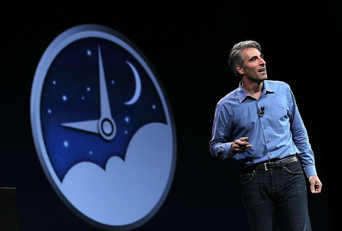 SAN FRANCISCO, CA - JUNE 11: Apple Senior VP of Software Engineering Craig Federighi announces Power Nap as part of the new Mountain Lion operating system during the keynote address at the Apple 2012 World Wide Developers Conference (WWDC) at Moscone West on June 11, 2012 in San Francisco, California. Apple unveiled a slew of new hardware and software updates at the company's annual developer conference which runs through June 15. (Photo by Justin Sullivan/Getty Images)
