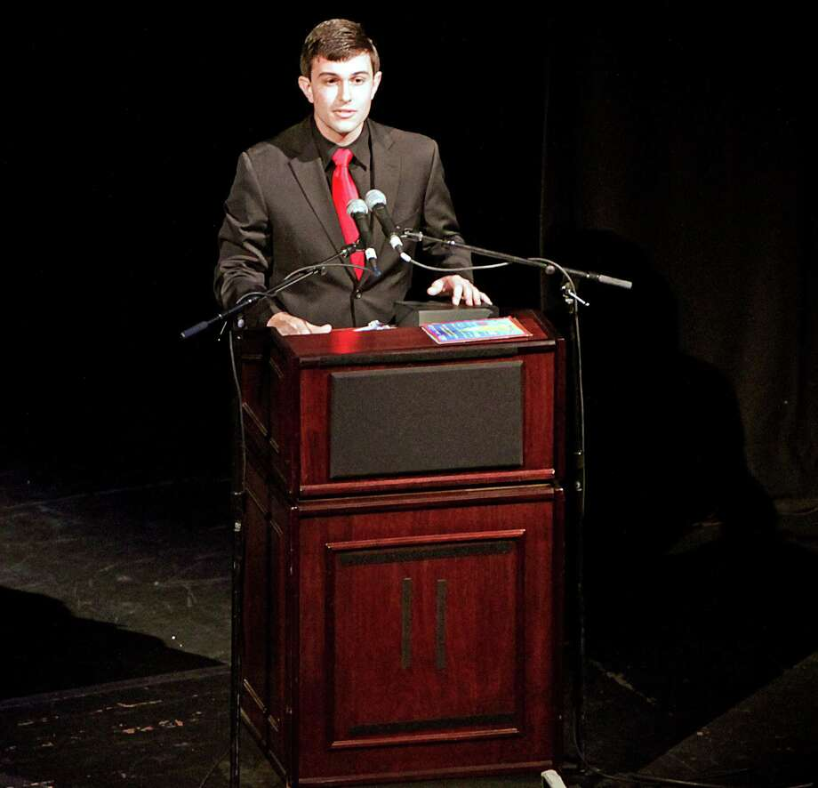 At the fourth annual Connecticut High School Musical Theater Awards, held this year at the Palace Theater in Waterbury, New Canaan High School drama students won prizes. Michael DeMattia, student producer, was an ìOutstanding Student Achievement Awardî for his work in the NCHS winter musical ìSweet Charity.î Photo: Contributed Photo